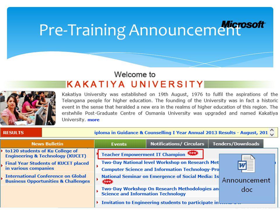 Pre-Training Announcement