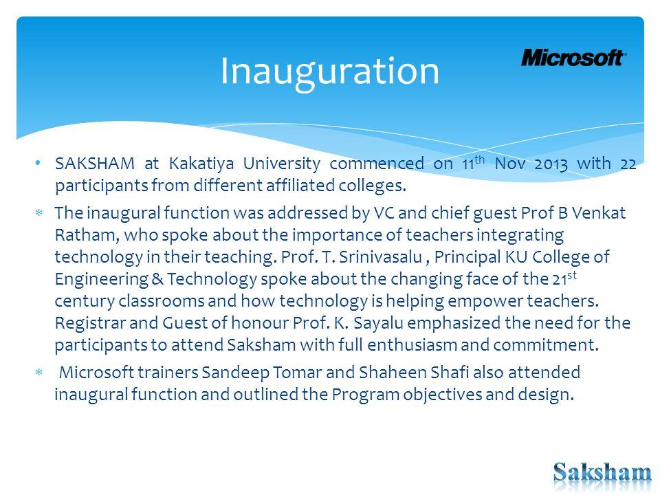 SAKSHAM @ Kakatiya University: Inauguration Prof.Boda Venkat Rathnam, Vice-Chancellor and Prof.