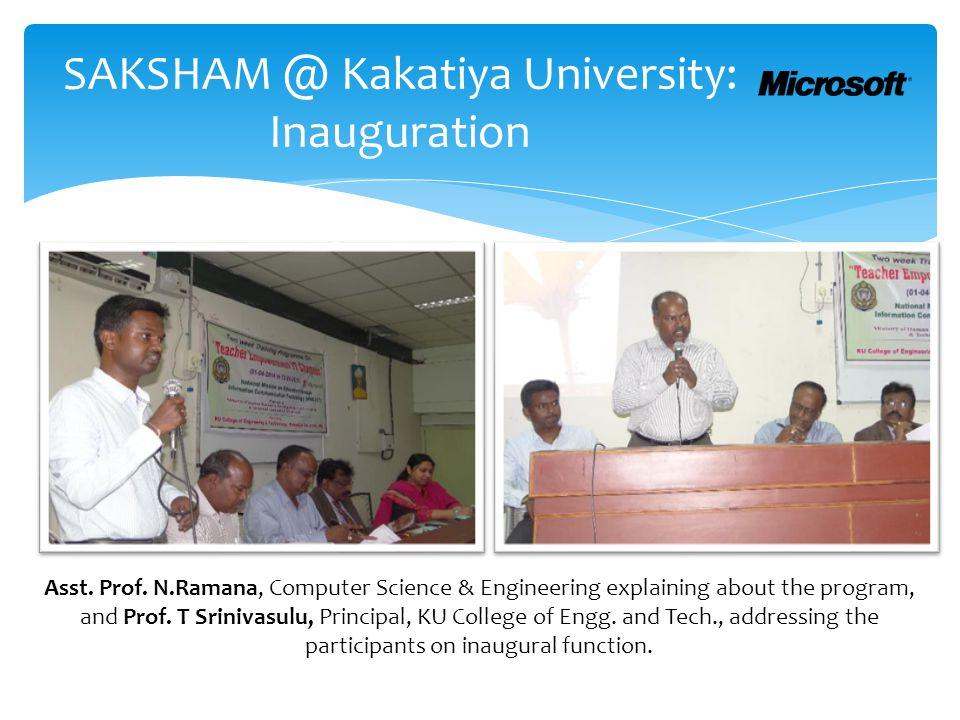 SAKSHAM @ Kakatiya University: Inauguration Asst. Prof.
