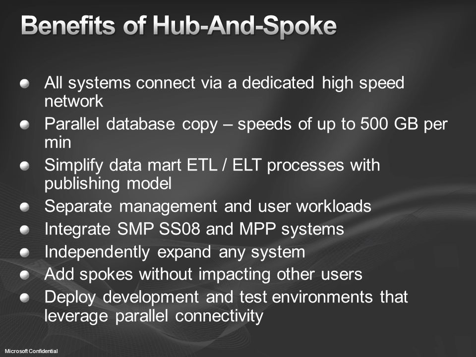 All systems connect via a dedicated high speed network Parallel database copy – speeds of up to 500 GB per min Simplify data mart ETL / ELT processes with publishing model Separate management and user workloads Integrate SMP SS08 and MPP systems Independently expand any system Add spokes without impacting other users Deploy development and test environments that leverage parallel connectivity Microsoft Confidential