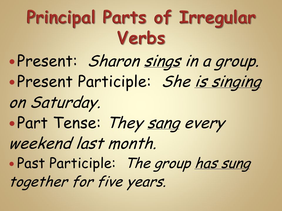 Present: Sharon sings in a group. Present Participle: She is singing on Saturday.