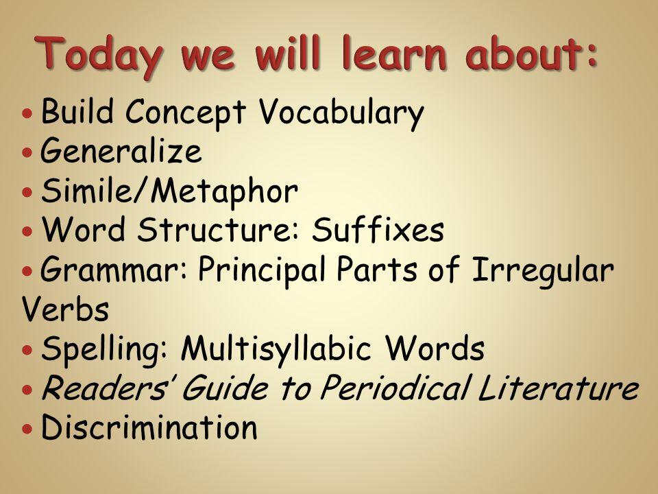 Build Concept Vocabulary Generalize Simile/Metaphor Word Structure: Suffixes Grammar: Principal Parts of Irregular Verbs Spelling: Multisyllabic Words