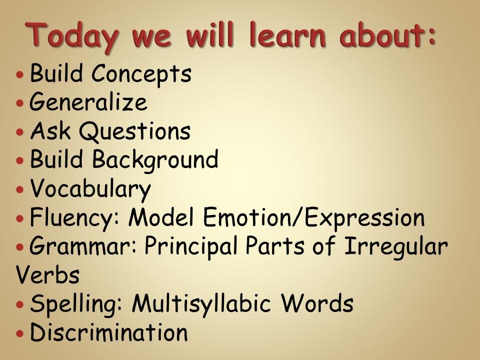 Build Concepts Generalize Ask Questions Build Background Vocabulary Fluency: Model Emotion/Expression Grammar: Principal Parts of Irregular Verbs Spelling: Multisyllabic Words Discrimination