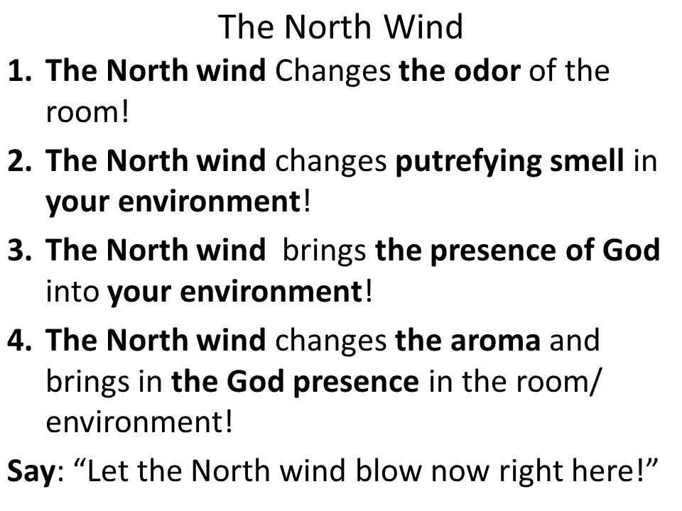 The North Wind 1.The North wind Changes the odor of the room.