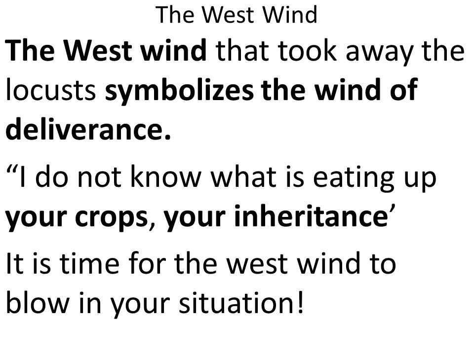 The West Wind The West wind that took away the locusts symbolizes the wind of deliverance.