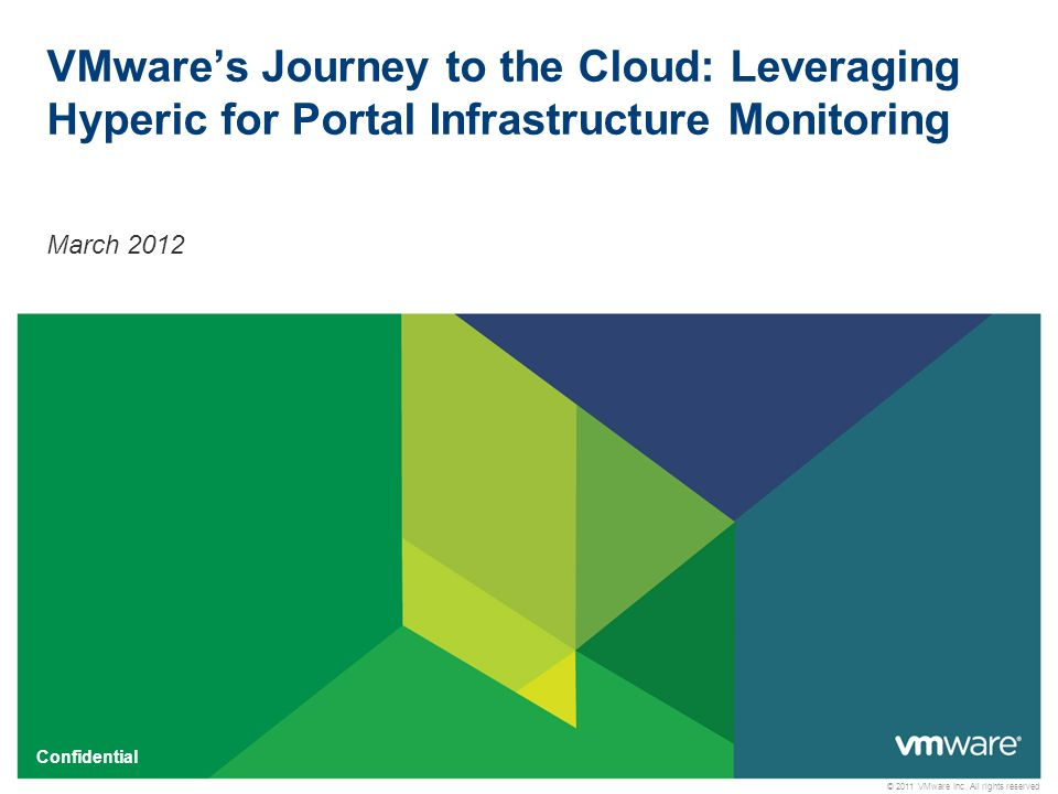 © 2011 VMware Inc. All rights reserved Confidential VMware's Journey to the Cloud: Leveraging Hyperic for Portal Infrastructure Monitoring March 2012