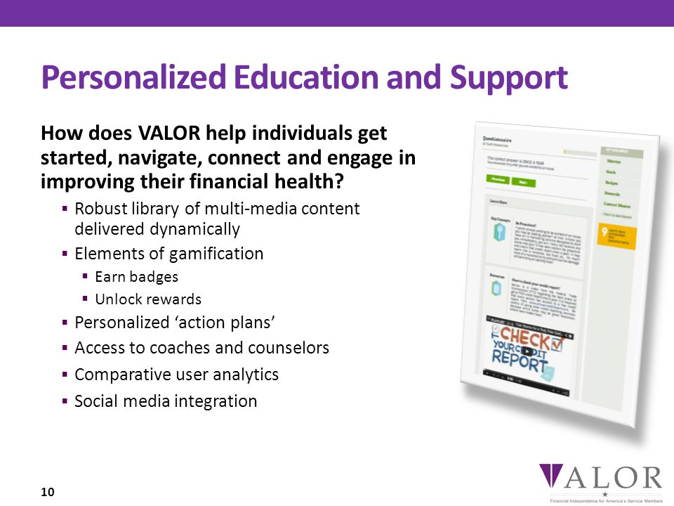 Personalized Education and Support How does VALOR help individuals get started, navigate, connect and engage in improving their financial health.