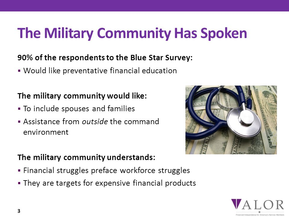 The Military Community Has Spoken 90% of the respondents to the Blue Star Survey:  Would like preventative financial education The military community would like:  To include spouses and families  Assistance from outside the command environment The military community understands:  Financial struggles preface workforce struggles  They are targets for expensive financial products 3
