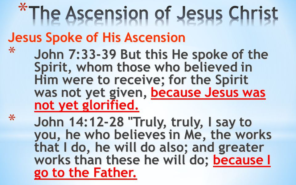Jesus Spoke of His Ascension * John 7:33-39 But this He spoke of the Spirit, whom those who believed in Him were to receive; for the Spirit was not ye