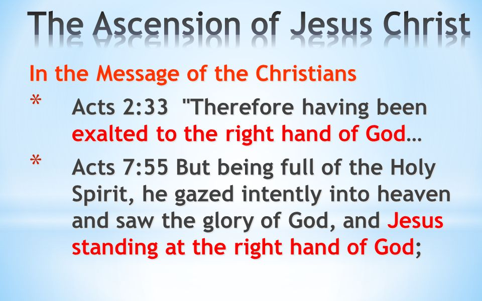 In the Message of the Christians * Acts 2:33