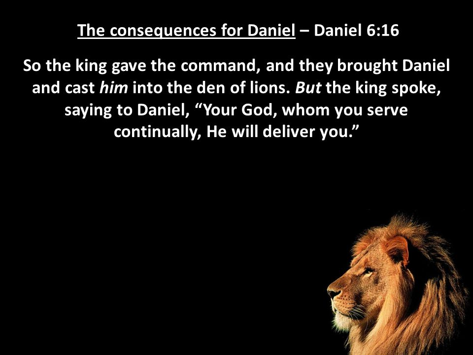 The consequences for Daniel – Daniel 6:16 So the king gave the command, and they brought Daniel and cast him into the den of lions. But the king spoke
