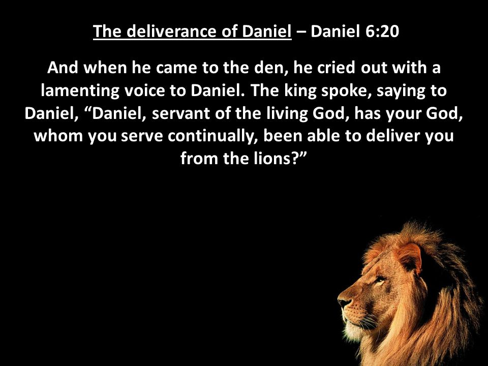 The deliverance of Daniel – Daniel 6:20 And when he came to the den, he cried out with a lamenting voice to Daniel. The king spoke, saying to Daniel,