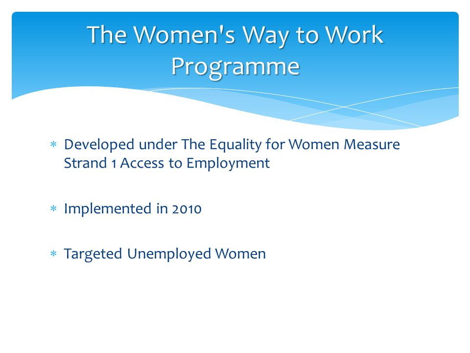  Developed under The Equality for Women Measure Strand 1 Access to Employment  Implemented in 2010  Targeted Unemployed Women The Women s Way to Work Programme