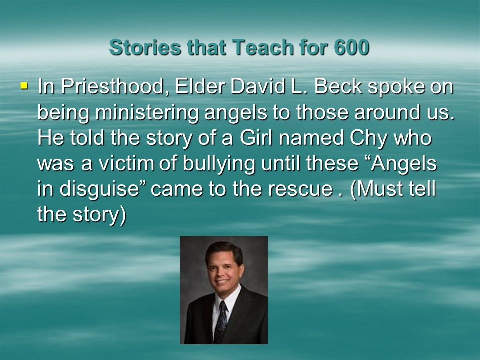 Stories that Teach for 500 Stories that Teach for 500  Answer: What is to the church or the Manhattan Stake Center.