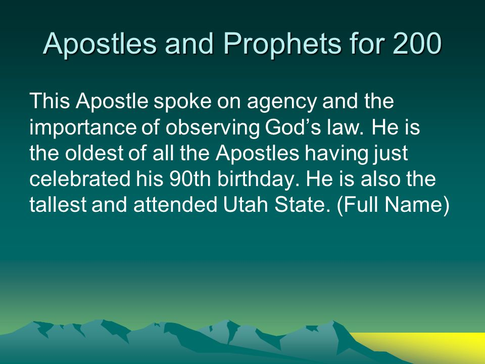 Apostles and Prophets for 100 Who is Robert D. Hales? Back
