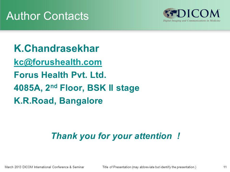 Author Contacts K.Chandrasekhar kc@forushealth.com Forus Health Pvt.