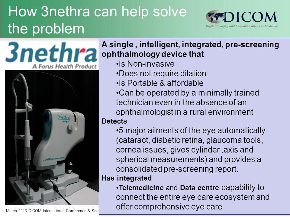 How 3nethra can help solve the problem March 2013 DICOM International Conference & Seminar8 K.Chandrasekhar, Forus Health Pvt.