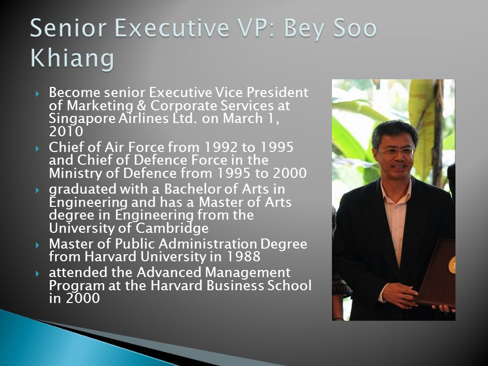  Become senior Executive Vice President of Marketing & Corporate Services at Singapore Airlines Ltd.