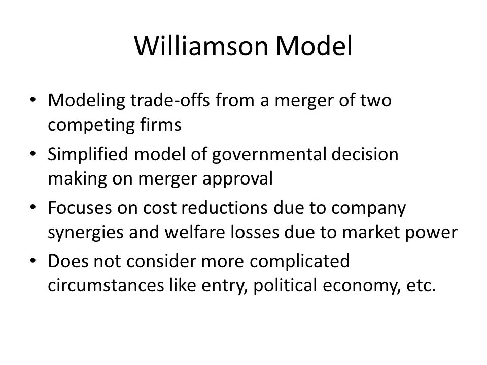 Williamson model Pre-merger - Competitive airline industry - American Airlines and US Airways initially operate as competitors, charging a price equal to marginal cost.