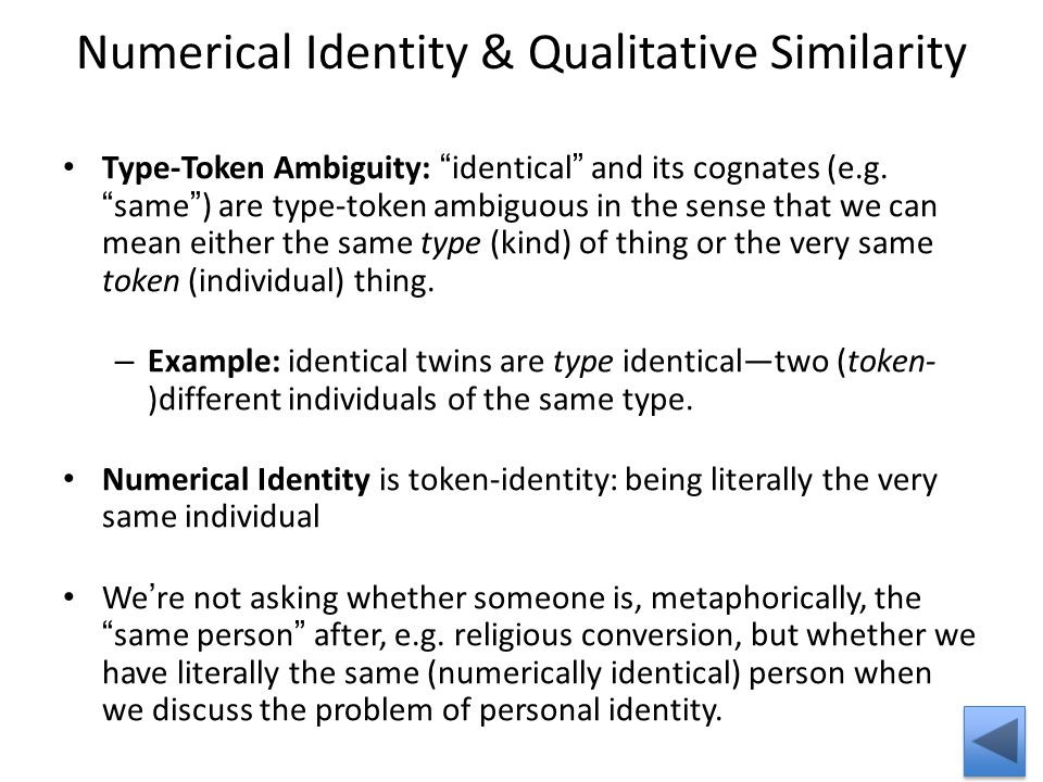 Numerical Identity & Qualitative Similarity Type-Token Ambiguity: identical and its cognates (e.g.