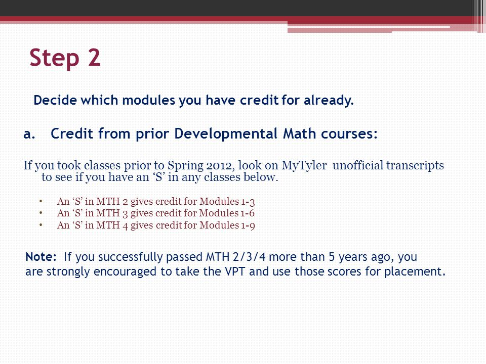 Step 2 Decide which modules you have credit for already.