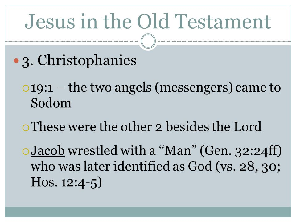 Jesus in the Old Testament 3. Christophanies  19:1 – the two angels (messengers) came to Sodom  These were the other 2 besides the Lord  Jacob wres