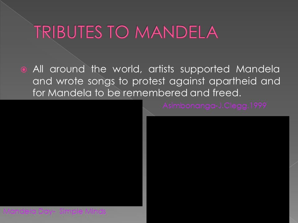  All around the world, artists supported Mandela and wrote songs to protest against apartheid and for Mandela to be remembered and freed.