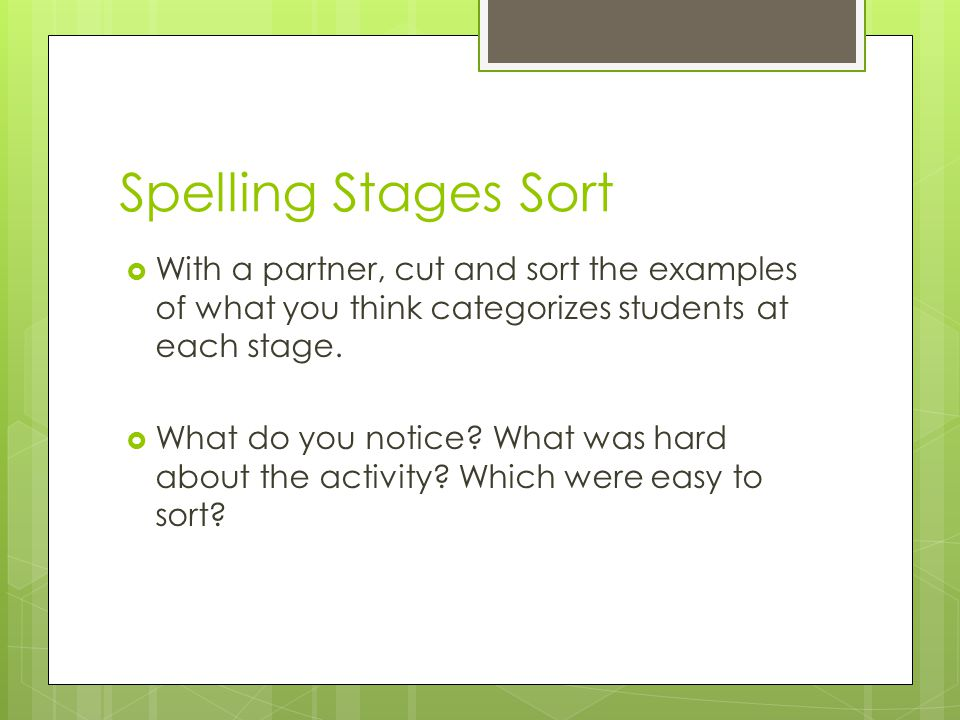 Spelling Stages Sort  With a partner, cut and sort the examples of what you think categorizes students at each stage.