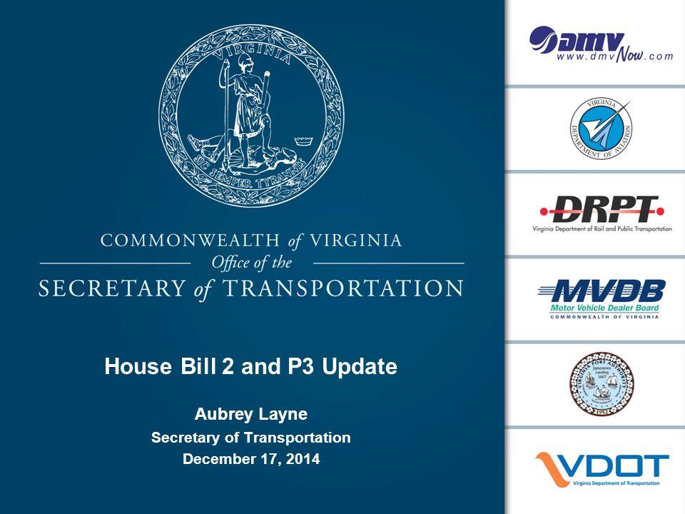 House Bill 2 and P3 Update Aubrey Layne Secretary of Transportation December 17, 2014