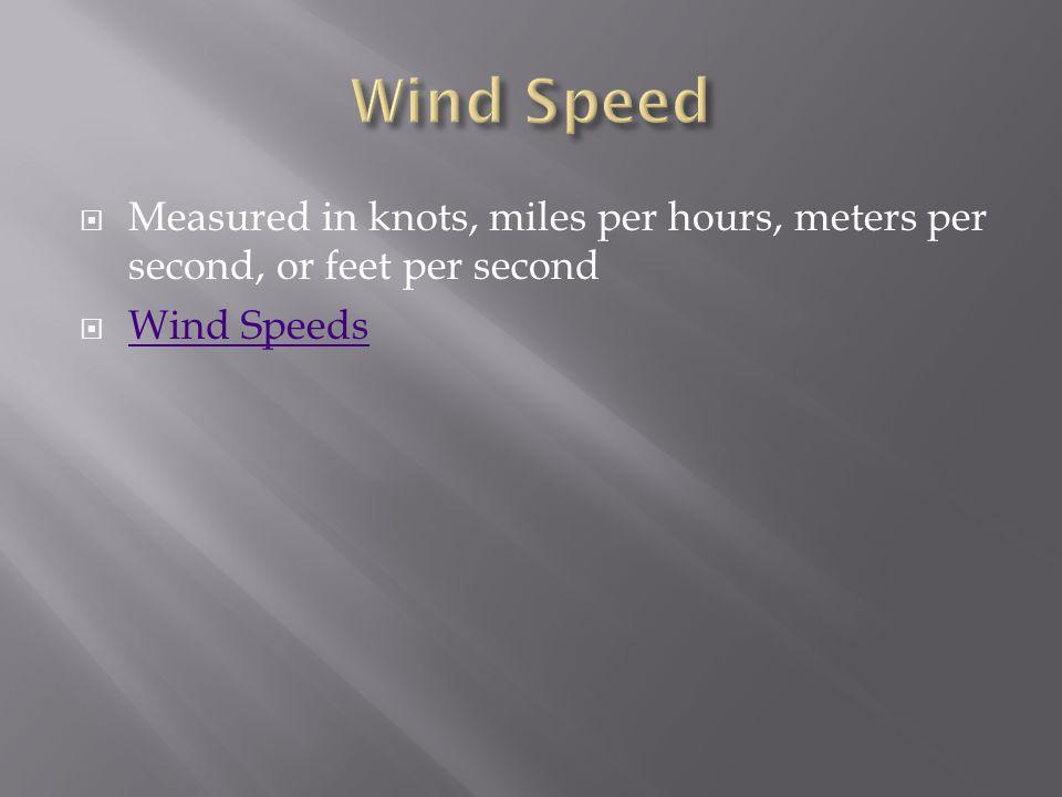  Measured in knots, miles per hours, meters per second, or feet per second  Wind Speeds Wind Speeds