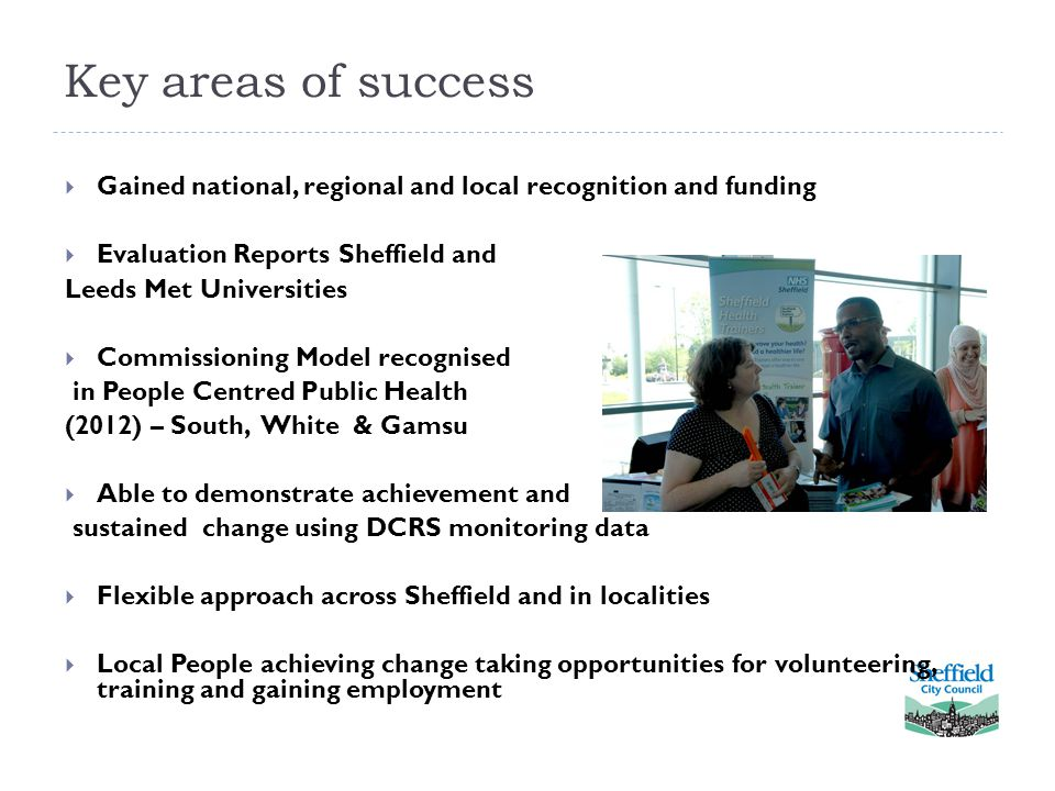 Key areas of success  Gained national, regional and local recognition and funding  Evaluation Reports Sheffield and Leeds Met Universities  Commiss