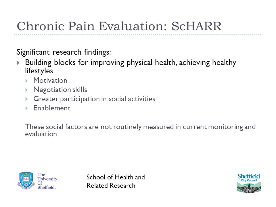 Chronic Pain Evaluation: ScHARR Significant research findings:  Building blocks for improving physical health, achieving healthy lifestyles  Motivation  Negotiation skills  Greater participation in social activities  Enablement These social factors are not routinely measured in current monitoring and evaluation School of Health and Related Research