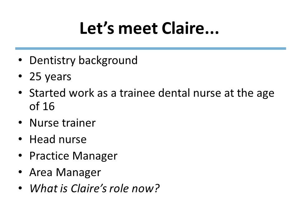 Let's meet Claire...