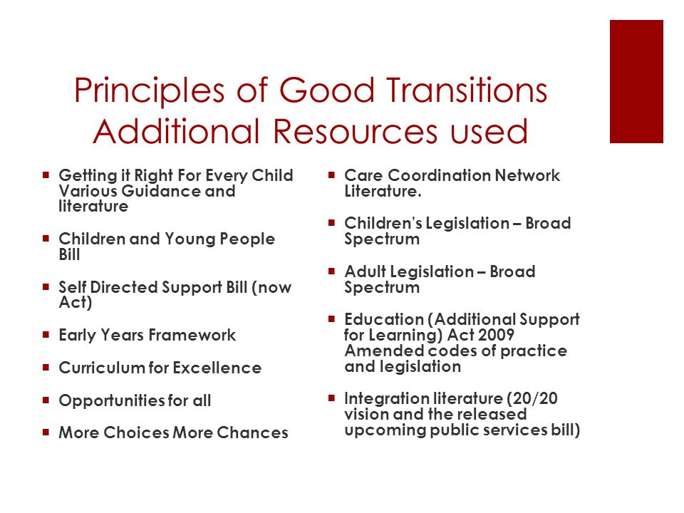 Principles of Good Transitions - Members feedback  To ensure the findings represented what was happening in the real world we consulted across our membership across Scotland.
