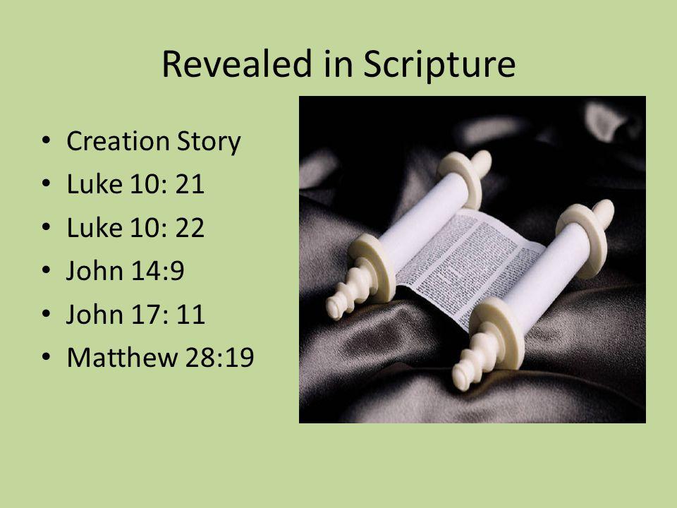 Revealed in Scripture Creation Story Luke 10: 21 Luke 10: 22 John 14:9 John 17: 11 Matthew 28:19