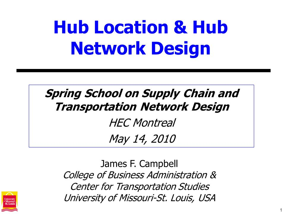 32 Hub Median Model p-Hub Median: Locate p fully interconnected hubs to minimize the total transportation cost.