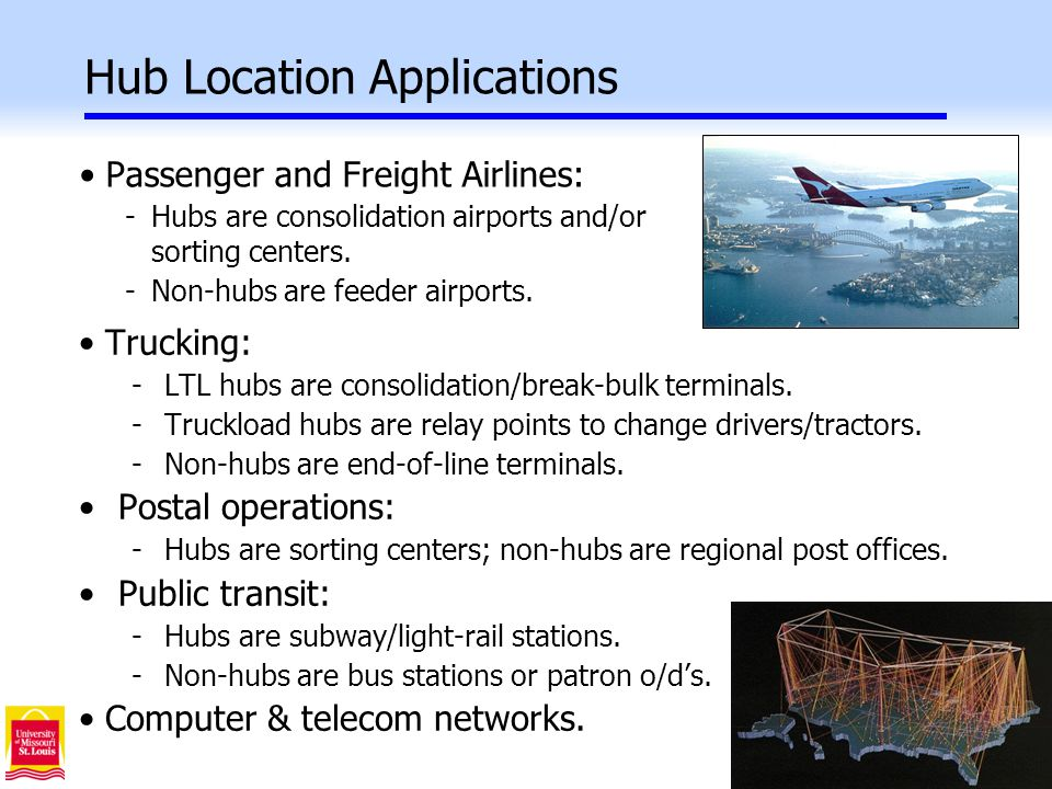 11 Hub Location Applications Passenger and Freight Airlines: -Hubs are consolidation airports and/or sorting centers.