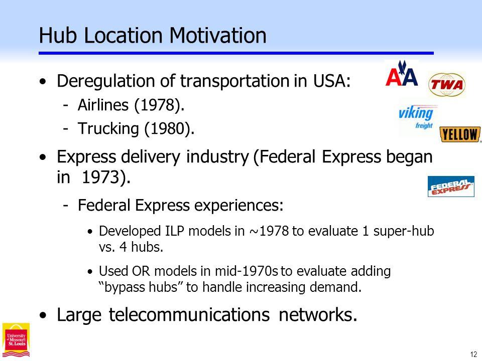 12 Hub Location Motivation Deregulation of transportation in USA: -Airlines (1978).