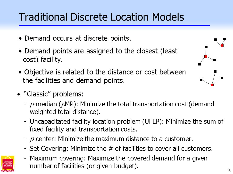 16 Traditional Discrete Location Models Demand occurs at discrete points.