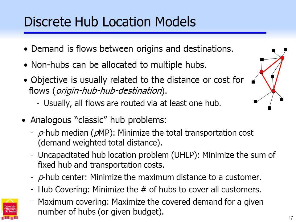 17 Discrete Hub Location Models Demand is flows between origins and destinations.