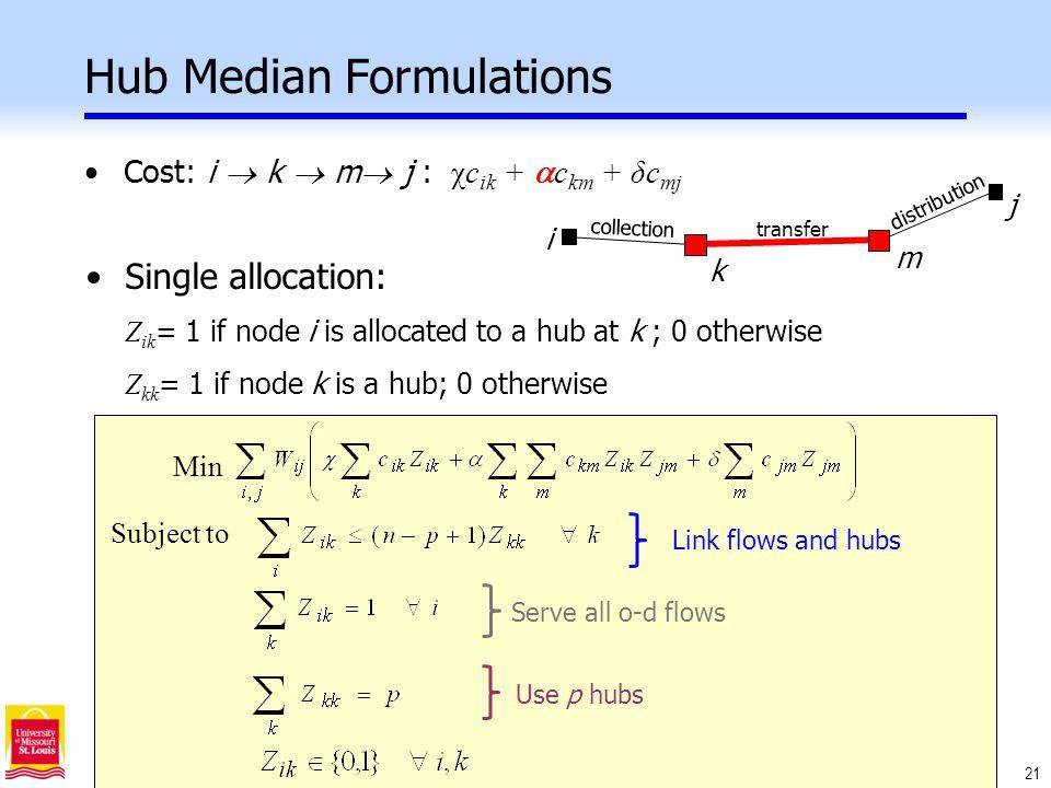 21 Hub Median Formulations Cost: i  k  m  j : χc ik +  c km + δc mj k j m i collection transfer distribution Single allocation: Z ik = 1 if node i is allocated to a hub at k ; 0 otherwise Z kk = 1 if node k is a hub; 0 otherwise Min Use p hubs Serve all o-d flows Link flows and hubs Subject to
