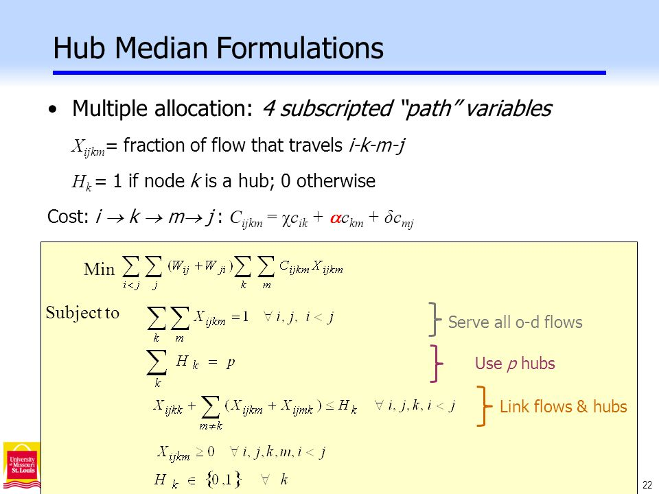 22 Hub Median Formulations Min Subject to Multiple allocation: 4 subscripted path variables X ijkm = fraction of flow that travels i-k-m-j H k = 1 if node k is a hub; 0 otherwise Cost: i  k  m  j : C ijkm = χc ik +  c km + δc mj Use p hubs Link flows & hubs Serve all o-d flows