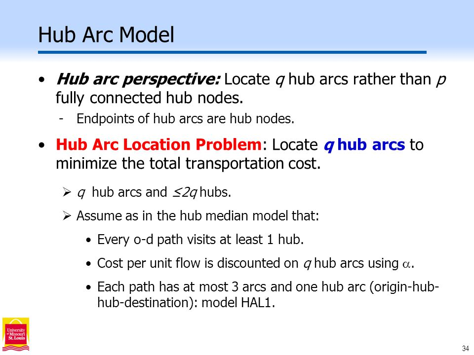 34 Hub Arc Model Hub arc perspective: Locate q hub arcs rather than p fully connected hub nodes.