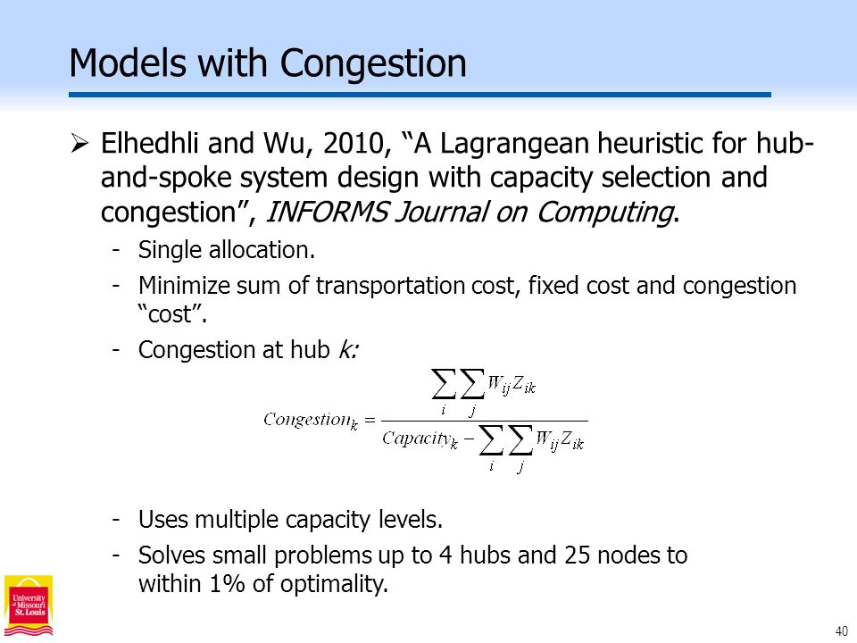 40 Models with Congestion  Elhedhli and Wu, 2010, A Lagrangean heuristic for hub- and-spoke system design with capacity selection and congestion , INFORMS Journal on Computing.