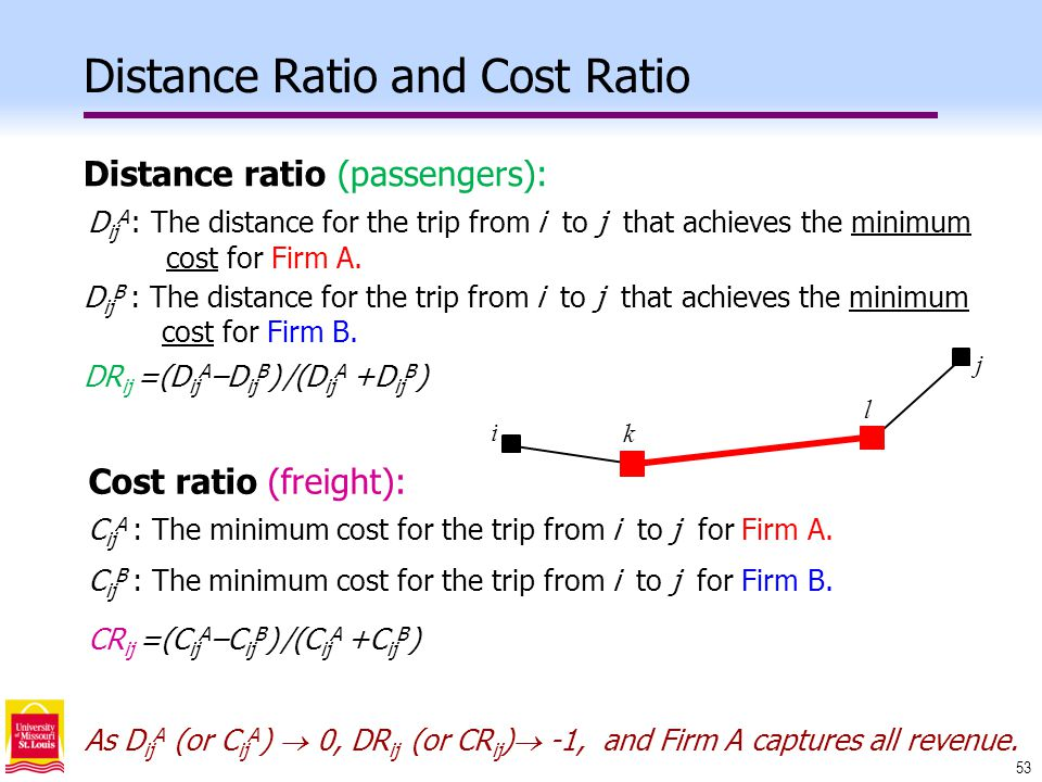 53 Distance Ratio and Cost Ratio D ij A : The distance for the trip from i to j that achieves the minimum cost for Firm A.