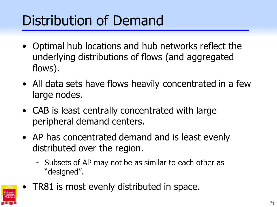 71 Distribution of Demand Optimal hub locations and hub networks reflect the underlying distributions of flows (and aggregated flows).