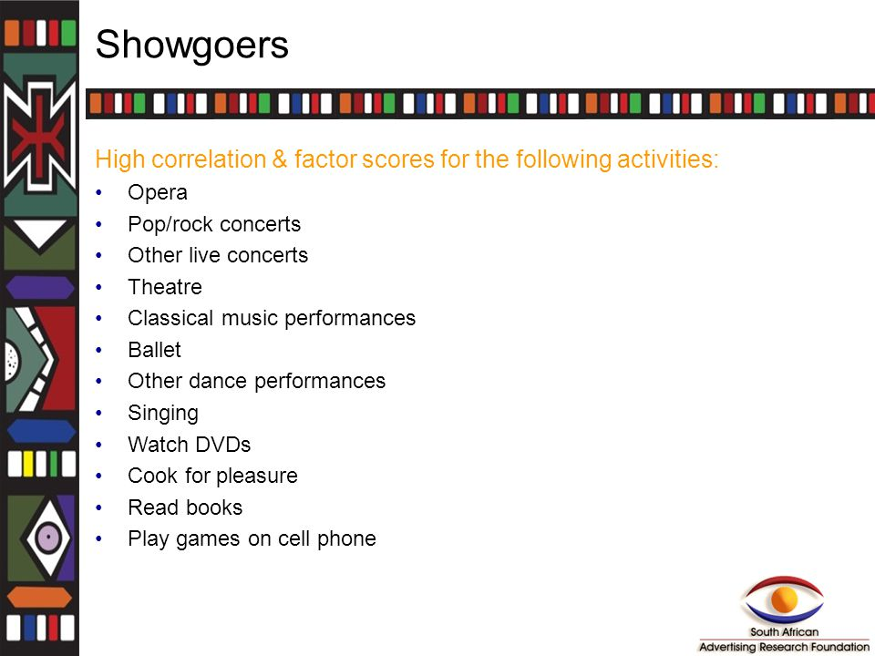 Showgoers High correlation & factor scores for the following activities: Opera Pop/rock concerts Other live concerts Theatre Classical music performan