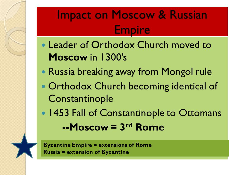 Impact on Moscow & Russian Empire Leader of Orthodox Church moved to Moscow in 1300's Russia breaking away from Mongol rule Orthodox Church becoming i