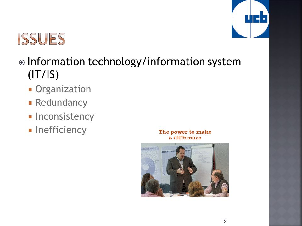  Information technology/information system (IT/IS)  Organization  Redundancy  Inconsistency  Inefficiency 5