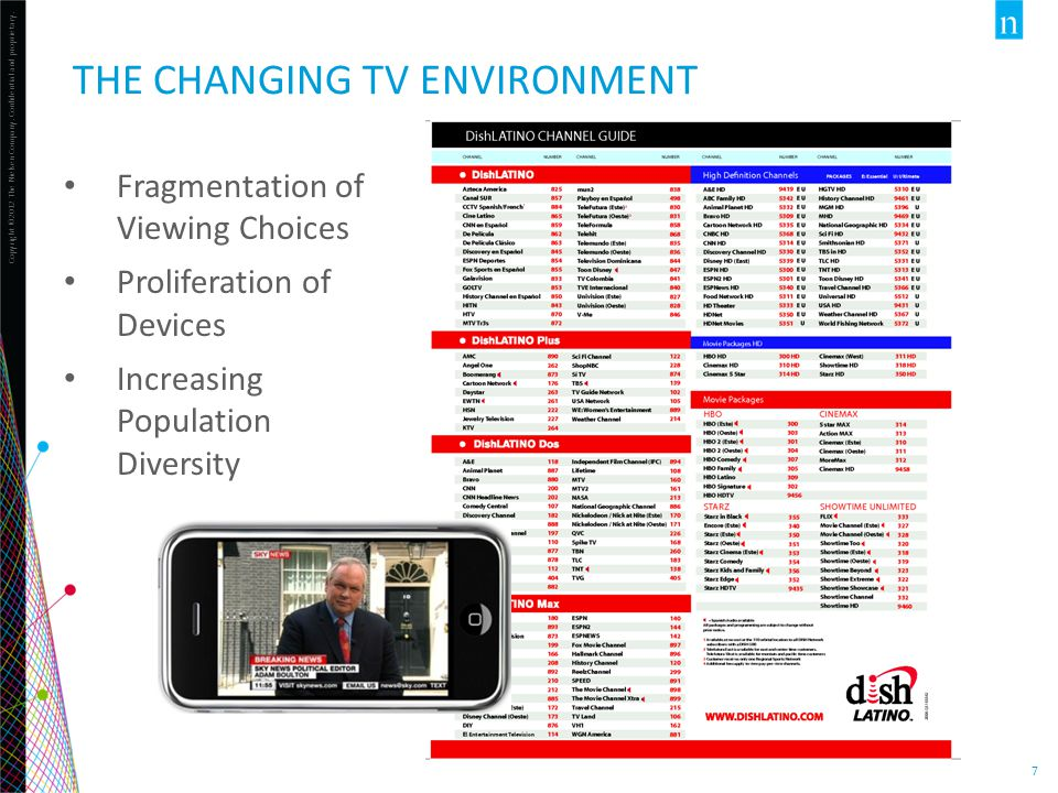 Copyright ©2012 The Nielsen Company. Confidential and proprietary. 7 THE CHANGING TV ENVIRONMENT Fragmentation of Viewing Choices Proliferation of Dev